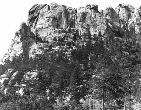 An image of Mount Rushmore — before construction began on the Mount Rushmore National Memorial. Date 1905