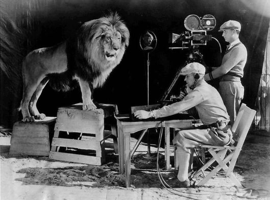 Photo of %22Leo the Lion%22 being recorded for his roar to be heard at the beginning of MGM films. According to MGM this lion's name was Jackie. Date 28 December 1928