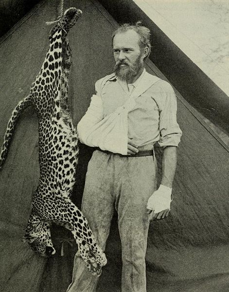 Carl Akeley and the Leopard he Killed Barehanded after it attacked him -1896.