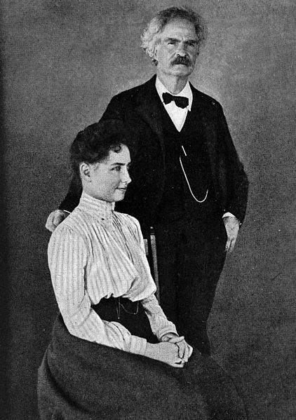 Helen Keller with Mark Twain c.1895.