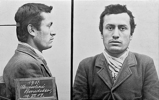 Mug shot of the later Italian Fascist leader Benito Mussolini, following his arrest by Swiss police for lack of identification papers.  Date 19 June 1903.jpg